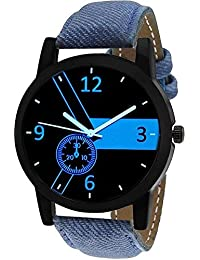 Timebre Blue Dial Denim Analog Watch For Men & Boys-BLU807