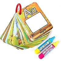 Doodle Agua Doodle Palabra Tarjetas Cognitivas de Educación Temprana para Niños y Bebés con 2 Bolígrafos Mágicos Juegos de Escribir y Pintar Aprender Números 26 Letras Tarjetas Acuarelas Tarjeta Alfabeto Infancia Tarjeta de Doodle (Letra)