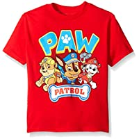 Paw Patrol Little Boys' Short Sleeve T-Shirt, Red, Small/4