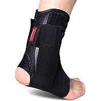 kuangmi Ankle Brace Lace Up con stabilizzatori laterali e croce ausiliario di fissaggio cintura forza protezione 1pezzo, Black, M