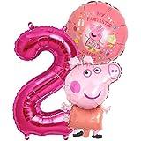 Peppa Wutz Girls set folieballong + stort antal 1–8 siffror 2 barns födelsedag peppa pepa gris karaktär filmer ballong barnfe