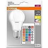 Osram LED Base Classic A RGBW Lampe, in Kolbenform mit E27 Sockel, dimmbarkeit und Farbsteuerung per Fernbedienung, Ersetzt 60 Watt, Warmweiß - 2700 Kelvin, 1er-Pack