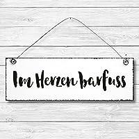 Im Herzen barfuss - Dekoschild Türschild Wandschild aus Holz 10x30cm - Holzdeko Holzbild Deko Schild zur Dekoration Zuhause im Büro auch perfekt als Geschenk Mitbringsel zum Geburtstag Hochzeit Weihnachten für Familie Freundin Mutter Schwester Tochter