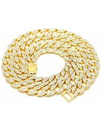 Cadena de hombre de 2filas, cristal escarchado,piedras chapadas en oro, curva cubana.