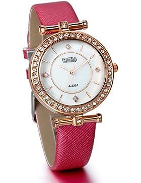 JewelryWe Damen Mädchen Armbanduhr, Analog Quarz, Einfach Charm Leder Armband Uhr mit Strass Rundem Zifferblatt...