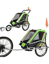 Jogger Remorque à Vélo 2 en 1, pour enfants + Amortisseur 503-04 VERT/Noir/Gris