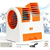 HNYR Portable Small Plastic Air Conditioner Water Cooler Mini Fan and Dual Bladeless for Use in Car/Home/Office and Other (Multicolour)