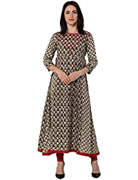 Gulmohar Jaipur Brown Color Cotton Round Neck A-line Women's Kurti