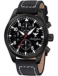 Airleader Black Steel Chronograph KHS.AIRBSC.LBB Edelstahl IP-beschichtet schwarz, Büffel-Lederband, KHS Tactical Watch, Einsatzuhr, Fliegeruhr