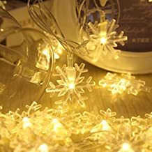 Guirnaldas Luminosas XGUO 10M 100 LED 8 Modos Cadena de Luces Clavija de EU IP44 Impermeable Iluminación de Navidad Tiras LED Para árbol de Navidad Fiesta Bodas Parte Jardín Luz de hadas(10M Blancas Cálidas Copo de Nieve)