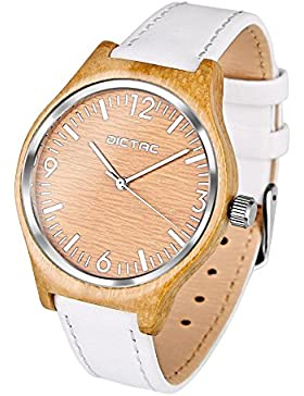 DICTAC Frauen Bambus Holz Armbanduhr mit weißem echtem Lederband Quarzuhr Damenuhr Analog Bambus Zifferblatt
