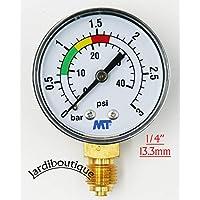 Jardiboutique – Manómetro MT con polaridad roja y verde–Manómetro ABS de filtro de arena para piscina, 3bares–Roscas de 1/4 de pulgada