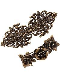 2Pzas Pasador de Metal Retro Vintage Hebilla Prendedor del Pelo Rosas Accesorios Bronce