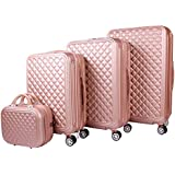 Travel Luggage&Trolley Bags 3 Piece Set With Beauty Case,Rose Gold and Gold