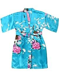 cc8b430b09 Girls  Satin Kimono Robe - Peacock and Blossoms Bathrobes Dressing Gown for  Spa Wedding Birthday