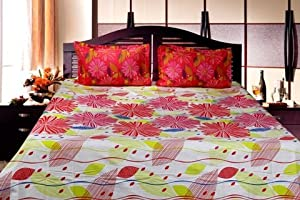 Trident Designer Solid,Traditional,Geometric 100% Cotton Double Bed sheet With 2 Pillow Covers - Floral Veli |