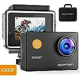 APEMAN Action Camera Sport Full HD 1080P 12MP 170 °Grandangolare+ Kit Accessori con Custodia Impermeabile e Valigetta Portatile. Ideale per Ciclismo, Nuoto e altri Sport. (Colore Nero)