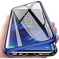 CoqueCase Funda para Samsung A71, Adsorción Magnética 360 Grados Protección Carcasa Samsung A71 Transparente Ambos Lados Vidrio Templado Anti Choque Case Azul
