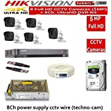 HIKVISION Full HD 5MP Cameras Combo KIT 8CH HD DVR+ 5 Bullet Cameras +2TB Hard DISC+ Wire ROLL +Supply & All Required Connectors, Techno-Krat