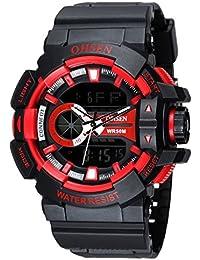 OHSEN Style Cool Montre de Sport étanche Homme Femme Digitale Analogique Montre Bracelet avec Chronomètre Alarme EL Rétroéclairage - Noir/Rouge
