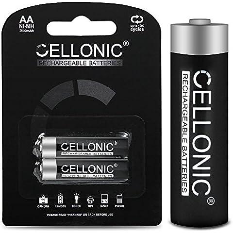 Cellonic® Batterie AA ricaricabile - 2600mAh - precaricato e pronto all'uso - lunga durata e vita - 2x Batteria AA (Mignon / HR6), pile AA ricaricabile, accu