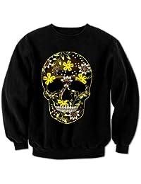 Women's Flower Skull 3 Sweatshirt Black XXL