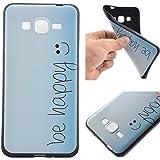 Voguecase® Para Samsung Galaxy Grand Prime G530, TPU Funda de Silicona de Gel Carcasa Tapa Case Cover (negro-be happy 03) + Gratis aguja de la pantalla stylus universales
