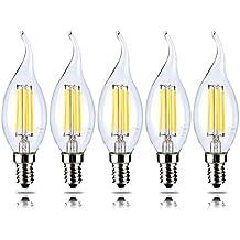 5-Pack 4 W dimmerabile LED filamento candela lampadina, bianco caldo 2700 K, E14 Candelabro base, forma di fiamma Bent punta, 5 pezzi, 40 W ad Incandescenza Equivalente yt-c35t-3