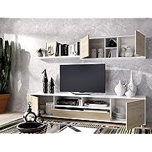 LIQUIDATODO ® - Composición de salón KUBE moderna y barata de 200 cm en blanco brillo y color natural