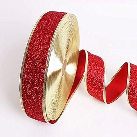 LUOEM Glitter Decorativi Nastri Craft per Decorazione Della casa Albero di Natale