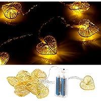 Lunartec Herzlichterkette: Herz-Lichterkette gold, batteriebetrieben (Lichterkette LED)