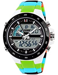 E9Q hombres de la goma inoxidable Acero digital LED de cuarzo reloj Fecha reloj deportivo