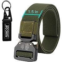 cinturón de táctica militar de nylon correa del cinturón con la hebilla de servicio pesado, disponible en una variedad de estilos, opcional elástico Loop-mantenga la tensión en el lugar (T018-Army Green)