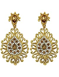 Styylo Fashion Exclusive Golden White Earrings Set