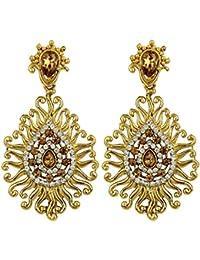 Styylo Fashion Exclusive Golden White Earrings Set