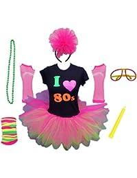 I Love The 80s Ladies Tutu Top Party Set Legwarmers Gloves Headband Glow Stick Beads (Small)