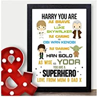 PERSONALISED STARWARS Christmas Gifts for Son Brother Nephew for Him Xmas Prints - PERSONALISED with ANY NAME and ANY RECIPIENT - Black or White Framed A5, A4, A3 Prints or 18mm Wooden Blocks