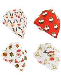 Zippy Diversión Navidad bebé y Bandana babero–absorbentes 100% algodón frontal Dribble babero con correas ajustables (paquete de 4Set de regalo) Unisex rojo y blanco