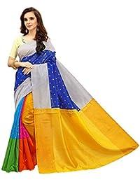 PRAMUKH STORE Cotton Silk Saree With Blouse Piece (Multicolor_Free Size)