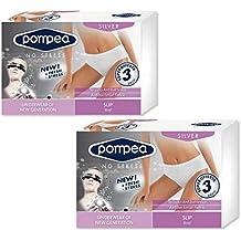OFFERTA 3 Slip Donna Silver Pompea Microfibra antibatterico S/M-L/XL Bianco