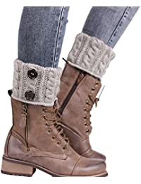 Calentadores para Mujer,TININNA Cálido Invierno Calentadores de Pierna Calcetines para Botas de Punto Polainas para Señoras-Gris claro