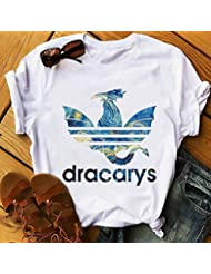 Camisetas Casuales de Verano para Mujeres, Camiseta de Manga Corta Suelta, Cuello Redondo, Top de Camiseta con Estampado Gráfico Simple, Patrón Personalizable, Good dress, Blanco-4#, s