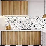Image of 60Adhesive Tile Adhesives Tile Stickers | Sticker–Wall tiles Bathroom and Kitchen Mosaic Tiles–SHADES OF GRAY Geometric–10x 10cm, 60Pieces - Comparsion Tool
