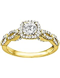 Silvernshine Ladies Engagement & Wedding Ring With White Diamond CZ In 14k Yellow Gold PL