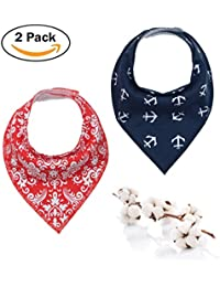 Baby Dribble Bib - Bandana Dribble Bibs Boys, Bandana Drool Bibs For Toddlers, Super Absorbent Soft Cute Bibs Girls, Ideal New Baby Gift With 2 Adjustable Snaps - 2PCS (Blue & Red)