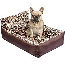 Kondrao - Cama estilo sofá con respaldo para perros, estampado de leopardo, felpa corta