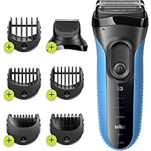 Braun Series 3 Proskin Shave&Style 3010BT 3-in-1 Electric Shaver Wet & Dry Razor for Men with Precision Beard Trimmer Hair Clipper and 5 Combs Rechargeable and Cordless Shaver Black/Blue, 2 Pin Plug