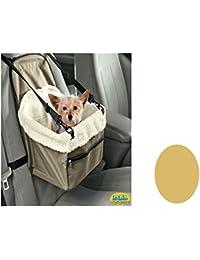 DZL Transporten de coche para respaldo de silla, diseño de perro gato mascotas con arnés de seguridad y trapuntina Interior suave (CAQUI)