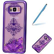 Trumpshop Smartphone Carcasa Funda Protección para Samsung Galaxy S8+ / S8 Plus [Flores moradas] Fina de TPU Transparent Liquido Dinámica Sparkle Estrellas Quicksand Caja Protectora