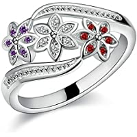 Amesii–Anello con fiori in argento Sterling 925anello con zircone intarsiato, gioielli per feste.